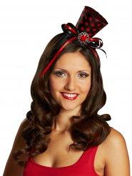 Mini cappello a cilindro nero e rosso