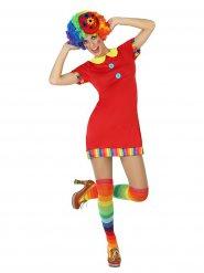Costume rosso da clown del circo per donna