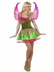 Costume verde e rosa da fata magica per donna