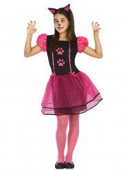 Costume da gatto rosa e nero per bambina