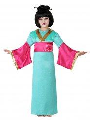 Costume da geisha verde e rosa per ragazza