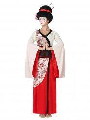 Costume da Geisha bianco e rosso per donna
