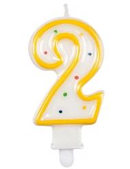Candela compleanno multicolore numero 2 7,5 cm