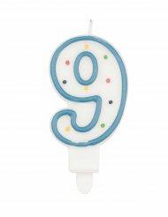 Candela compleanno multicolore numero 9 7,5 cm