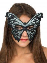 Maschera veneziana farfalla nera con brillantini