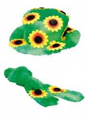 Cappello e foulard a fiori da hippie per adulto
