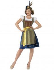 Costume da Bavarese blu e oro per donna