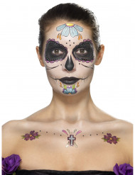 Kit tatuaggio ad acqua fiori blu Dia de los muertos per donna