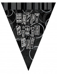 Ghirlanda con bandiere grigia con scritta Happy Birthday