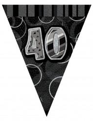 Ghirlanda con bandiere grigie 40 anni