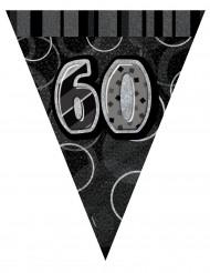 Ghirlanda con bandierine grigia 60 anni