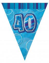 Ghirlandacon bandierine blu 40 anni