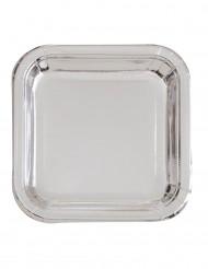 8 piatti quadrati argentati