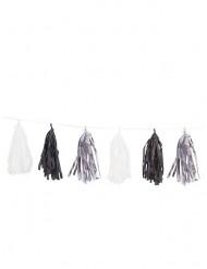 Ghirlanda 15 pompom argento nero e bianco 2.74 m