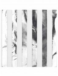 16 tovaglioli bianco e argento a righe