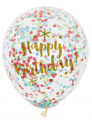 6 Palloncini Happy Birthday con coriandoli multicolore!