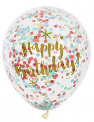 6 Palloncini Happy Birthday con coriandoli multicolore!