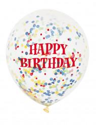 6 Palloncini in Lattice trasparente Happy Birthday