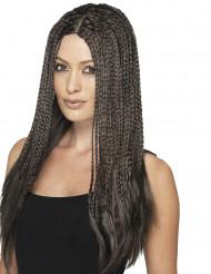 Parrucca sintetica marronne a treccie per donna
