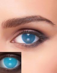 Lenti a contatto blu a fantasia con quadratini UV