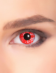 Lenti a contatto per adultisfondo rosso macchiate di bianco.