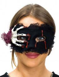 Maschera in tessuto con mano da scheletro donna halloween