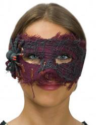 Maschera veneziana viola con ragno ad effeto ragnatela