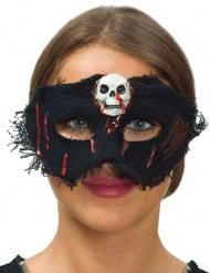 Maschera in tessutocon teschio bianco