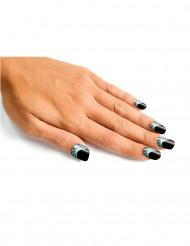 Kit finte unghie nere con disegni di ragnatele