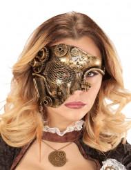 Mezza maschera dorata con ingranaggi Steampunk per adulto