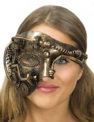 Mezza maschera dorata ingranaggi steampunk adulto
