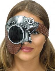 Mezza maschera argentata per donna steampunk