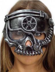 Maschera teschio argentato steampunk per adulto