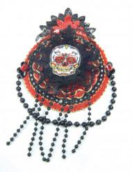 Mini cappello rosso e nero per donna Dia de los Muertos