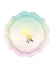 12 Piattini di carta unicorno dorato