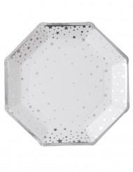 8 piatti ortogonali  bianchi in cartone