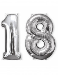 Kit 2 palloncini in alluminio numero 18 argentati