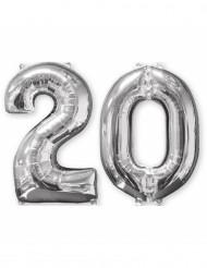 2 palloncini 20 anni in alluminio argento