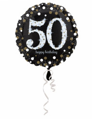 Palloncino in alluminio Happy Birthday scintillante 50 - 45 cm