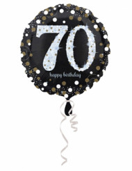 Palloncino in alluminio Happy Birthday scintillante 70 - 45 cm