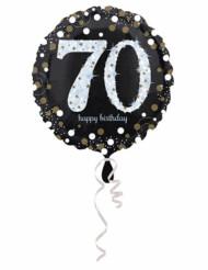 Palloncino in alluminio Happy Birthday scintillante 70 - 45 cm