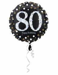 Palloncino in alluminio Happy Birthday scintillante 80 - 45 cm