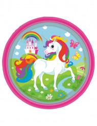 8 Piatti di carta Unicorno arcobaleno