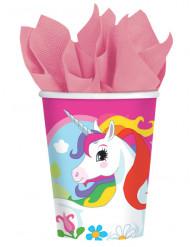 8 Bicchieri di carta unicorno arcobaleno