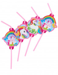 8 Cannucce con medaglione Unicorno arcobaleno