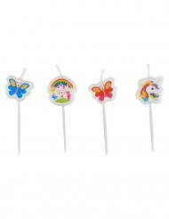 4 mini candela unicorno arcobaleno