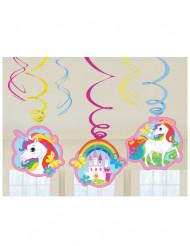 6 Decorazioni unicorno a spirale