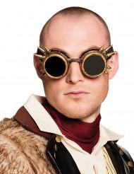 Occhiali cyberpunk dorati per adulto