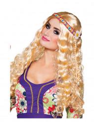Parrucca da hippie ondulata bionda per donna