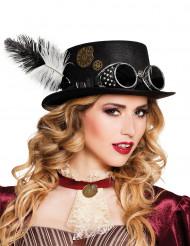 Cappello Steampunk con piume e ingranaggi
